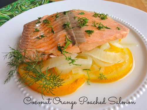 Coconut orange poached salmon